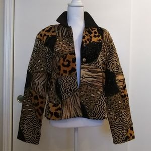 🐆💛ANAGE Animal Print Quilted Style Jacket Sz L